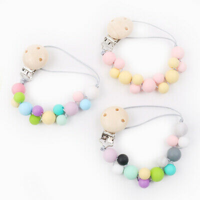Bubble Dummy Pacifier Clip Baby Teething Silicone Beads Soother Chain Holder Toy