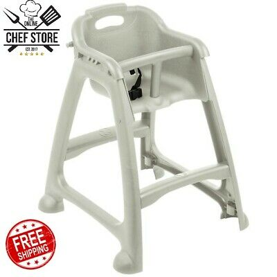 New Gray Stackable Plastic Commercial Restaurant High Chair with Tray No Wheels