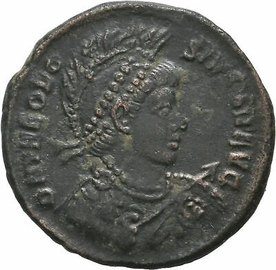 Ancient Rome Constantinople AD 379-395 THEODOSIUS Follis GALLEY EMPEROR VICTORY