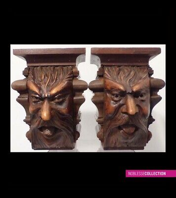 PAIR OF ANTIQUES 1890s FRENCH CARVED WALNUT WOOD SALVAGE GARGOYLE GOTHIC FIGURES