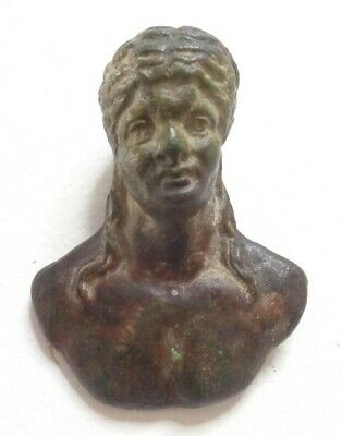 Antique Roman Bronze Bust Mount of a Semi Nude Male with Long Hair