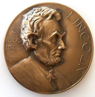 Vintage Bronze Lincoln Medal Medallion American Bar By Whitehead & Hoag
