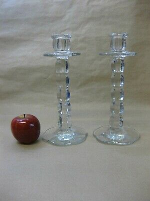 """Pair of Vintage / Antique Pressed Glass Candlesticks ~ 9 1/4"""" Tall"""