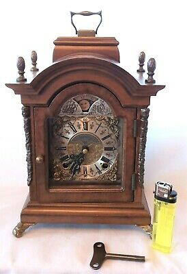 Warmink Mantel Clock PERFECT Dutch Vintage 8 Day Key Wind Double Bell, Moon Dial