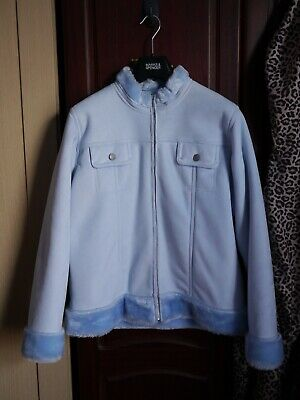 Marks & Spencer Cute Light Blue Faux Suede Soft Fur Lined Cosy Zip Up Jacket M&S