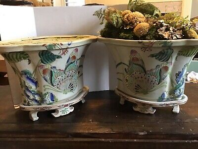 Spectacular Large Pair of Antique  Chinese  Planters with Underplates