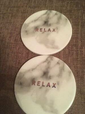 Set Of 2 Marble Coasters - Cork Backed -  Relax