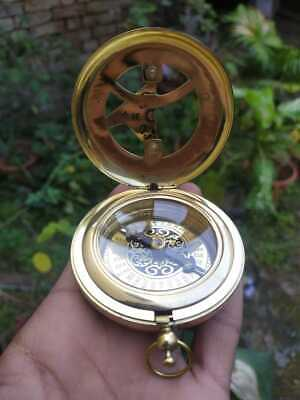 Nautical Brass Trendy Look stanley London Pocket Push Button Sundial Compass