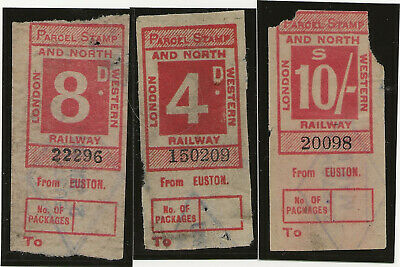 3 London & North Western Railway Parcel Stamps from Euston