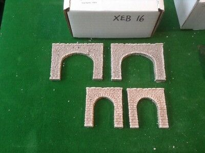 Twin Pack N Scale Tunnels (2 Twin Track And 2x Single Track) Rough Stone