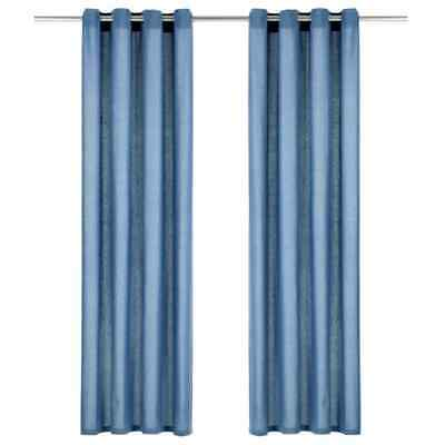 vidaXL 2x Curtains with Metal Rings Cotton 140x245cm Blue Window Covering