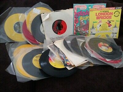 """Lot of 33 Jukebox Records 7"""" 45 rpm Vintage Music Singles some w/ Sleeves"""