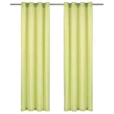 vidaXL 2x Curtains with Metal Rings Cotton 140x245cm Green Window Covering