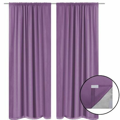 vidaXL 2x Blackout Curtains Double Layer 140x175 cm Lilac Window Drapes Blinds#