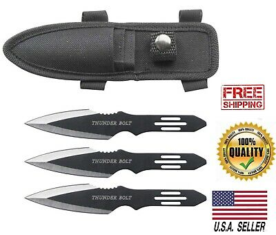 Perfect Point Thunder Bolt Throwing Knife Set Three Knives Survival Tactical New
