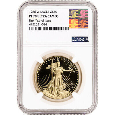 1986-W American Gold Eagle Proof 1 oz $50 NGC PF70 First Year Issue Warhol Label