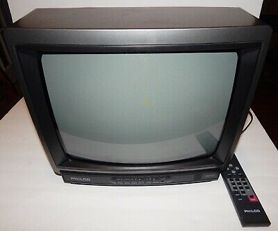 "Vintage Philco CRT 13"" Color TV with Remote"
