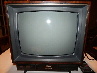 "Vintage Zenith Space Command 13"" CRT Color TV 1989 with Remote Wood Grain"