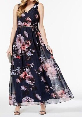 SL Fashions Women's Blue Size 4 Floral Print Embellished Gown Dress $119- #493