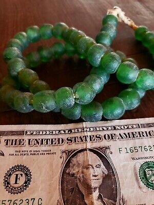 Old Native American Indian GREEN glass trade Beaded Necklace beads