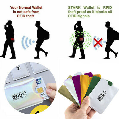 RFID Credit Card Blocking Sleeve Secure Protector Anti Theft Scan Wallet Inserts