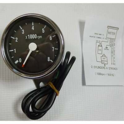 Electronic Tachometer 0-8000 RPM Stainless Steel Body 60mm Diameter Black Face