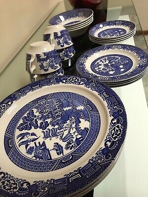 Blue Willow Dinner Set - Wood & Sons, England