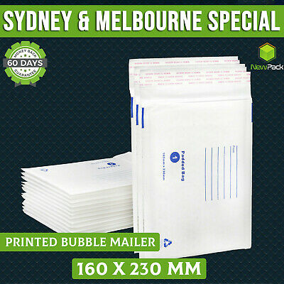 200x Bubble Mailer Envelope #01 160x230mm Premium Padded Bag White Printed