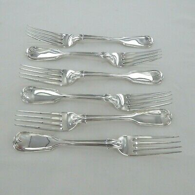 Good Antique Sterling Silver Set Of Six Fiddle Thread  Dinner Forks London 1838.
