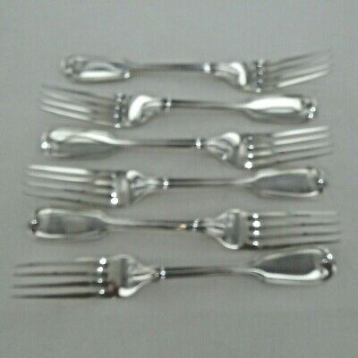 Good Antique Sterling Silver Set Of Six Fiddle Thread  Dinner Forks London 1903.