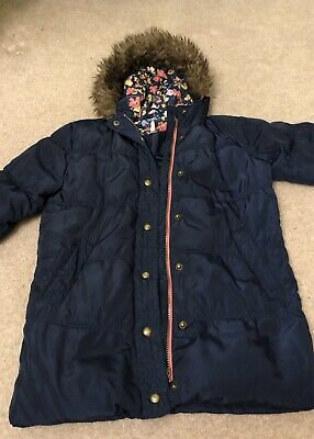 Joules girls navy blue winter padded coat / jacket with faux fur hood, age 6