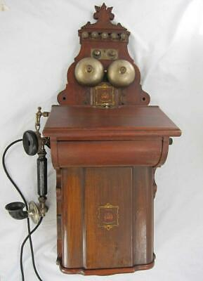 EARLY 20th CENTURY VINTAGE WOODEN WALL TELEPHONE by JYDSK antique
