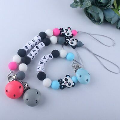 Cute Panda Food Grade Silicone Beads Personalized Dummy Baby Pacifier Chain Clip