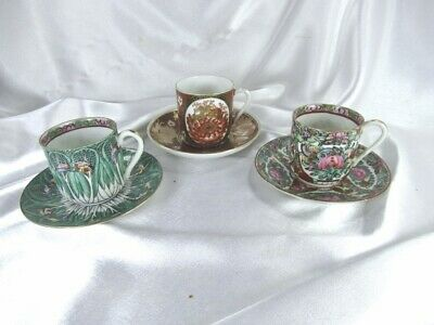 3 HTF 1960's CHINESE TEA CUPS & SAUCERS FAMILLE ROSE BUTTERFLIES CHRYANTHEMUM