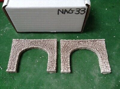 N Scale Tunnel portals X 2 -Twin Track -Rough Stone Style, Pre Painted (NAG33)