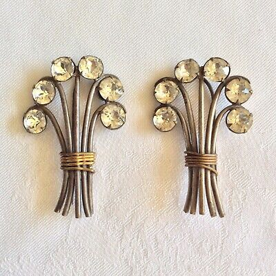 Antique Edwardian-Art Deco Paste Set Pair of Hair or Hat Pin Spray Decorations