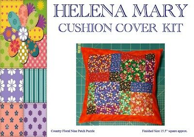 Patchwork Kit Complete Cushion Cover Kit -Country Floral Nine Patch Puzzle 15.5""