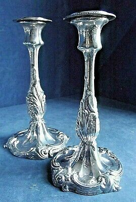 """Superb PAIR 10"""" ~ SILVER Plated ~ Ornate CANDLESTICKS ~ c1875 by James Dixon"""
