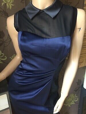Karen Millen Black Navy Satin Tuxedo Dress UK Size 12