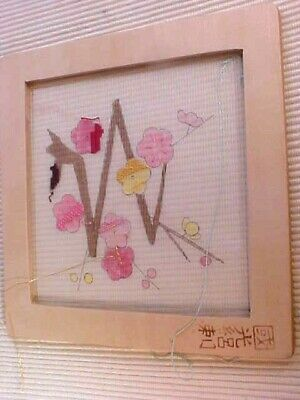 Rozashi Embroidery Kit Plum Blossoms Framed Painted Design Silk Threads 1980s