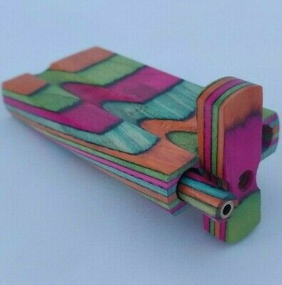 Wavy Rainbow 4 Inch Dugout Stash Box + Brass and Wood One Hitter Bat +8 Screens