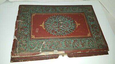 Antique French carved Leather Travelling Lap Desk, Writing Box
