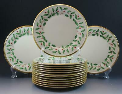 Lenox Holiday Holly Dimension Collection Porcelain Set of 12 Dinner Plates