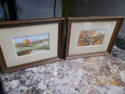 Pair of Fall Watercolors by Henry Edinger Pond in Fall & Fall Stream, Signed