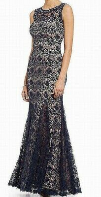 Betsy & Adam Women's Blue 10 Floral Lace Embellished Ball Gown Dress $225 #167