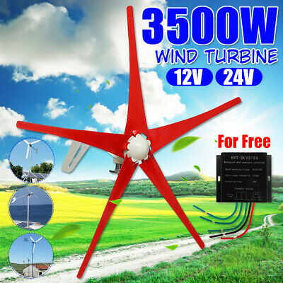 3500W DC 12V/24V 5 Red Blade Wind Turbine Generator High Power Charge Controller