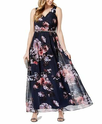 SL Fashions Navy Blue Womens Size 4 Surplice Floral Print Chiffon Gown $119- 397