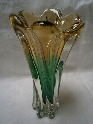 Vintage Hand Blown Amber & Green Murano Art Glass Vase With Scalloped Edging