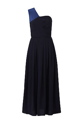Slate & Willow Womens Dress Blue Size 12 One-Shoulder Colorblock Gown $295- #594