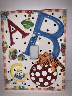 New ABC 1995 ME Ceramic light switch by Mary Engelbreit A B C Charpente